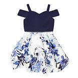 Girl's 7-16 Speechless Cold Shoulder Floral Print Bubble Dress