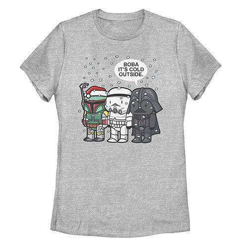 Juniors' Star Wars Boba Fett Trooper Vader Boba It's Cold Christmas Tee