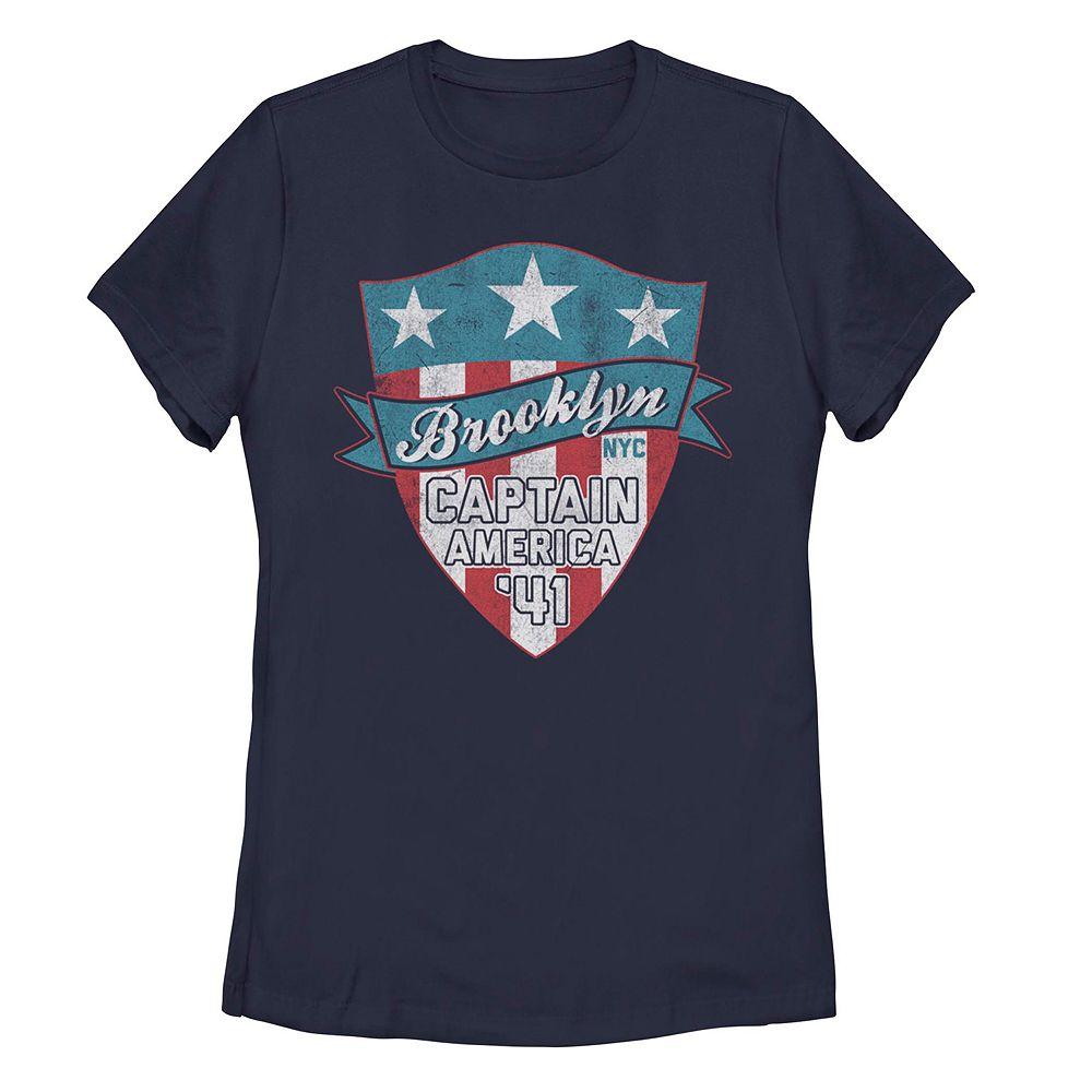 Juniors' Marvel Captain America Brooklyn Shield Logo Tee