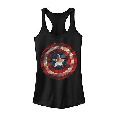 Juniors' Marvel Captain America Shield American Flag Fill Tank