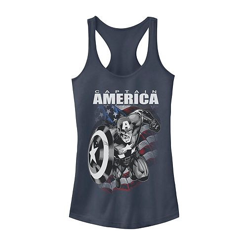 Juniors' Marvel Captain America Black and White Portrait Tank
