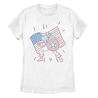 Juniors' Marvel Captain America Neon Flag Tee