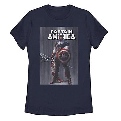 Juniors' Marvel Captain America Flag Poster Tee