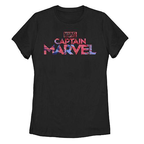 Juniors' Captain Marvel Logo Tie Dye Fill Tee