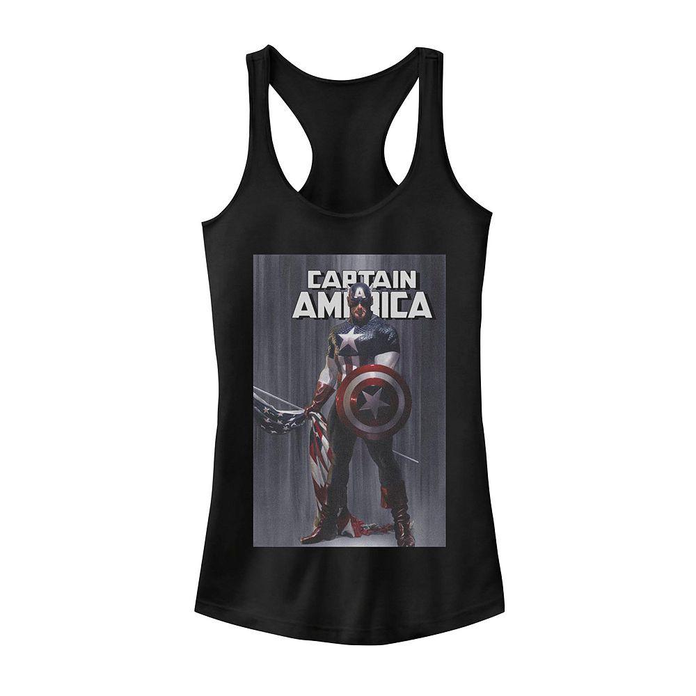Juniors' Marvel Captain America Flag Poster Tank