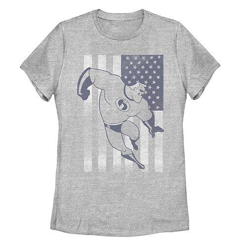 Juniors' Disney Pixar Incredibles Mr Incredible American Flag Tee