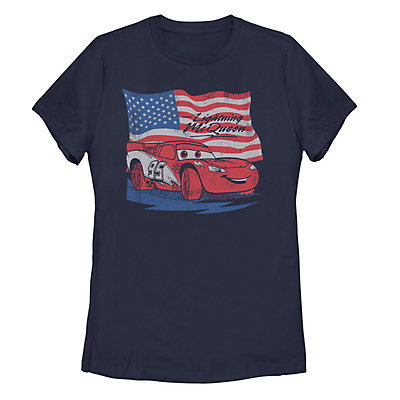 Juniors' Cars Lightning McQueen American Flag Tee