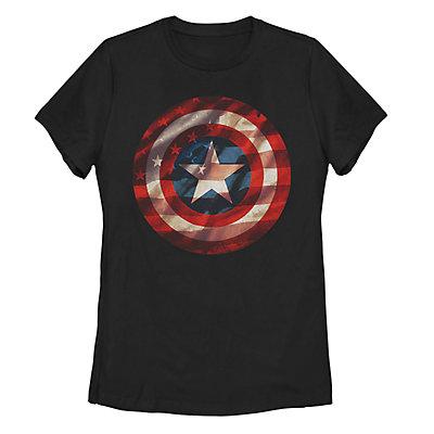 Juniors' Marvel Captain America Shield American Flag Fill Tee