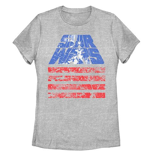 Juniors' Star Wars Red White And Blue American Flag Poster Tee