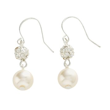 Silver Tone Simulated Pearl & Simulated Crystal Cluster Earrings