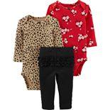 Baby Girl Carter's 3-Piece Leopard & Floral Bodysuit Pant Set