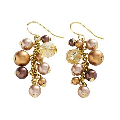 Croft and Barrow Gold-Tone Chocolate Simulated Pearl and Simulated Crystal Drop Earrings