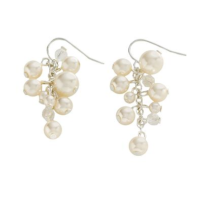 Croft and Barrow Silver-Tone Simulated Pearl and Simulated Crystal Drop Earrings