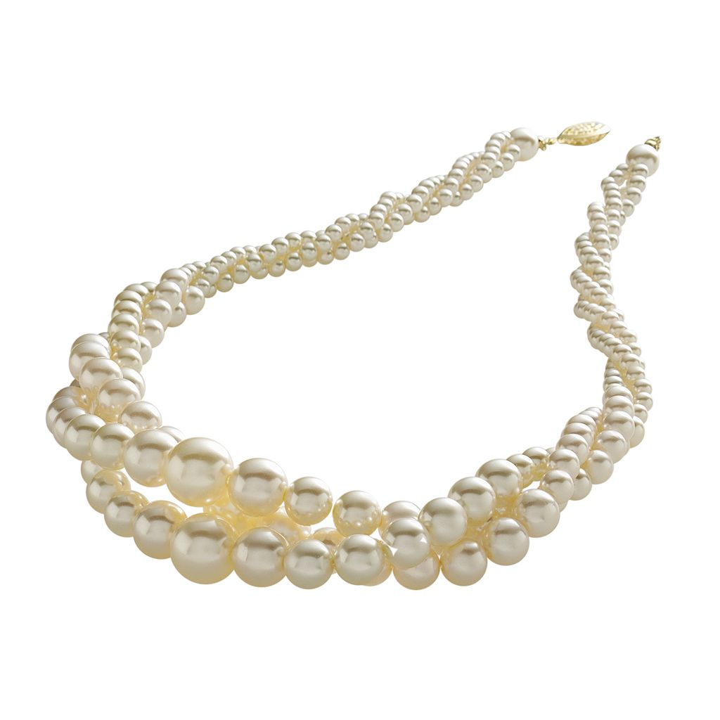 Simulated Pearl Twist Necklace