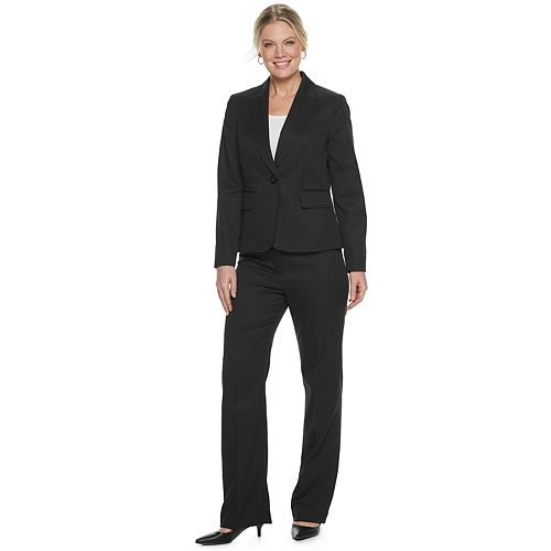 Le Suit Womens Pinstripe 2 Button Jacket Pant Suit