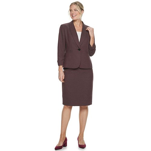 Women's Le Suit Shawl Collar Dot Jacquard Skirt Suit