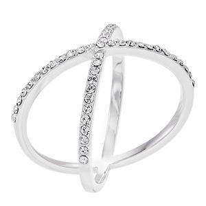 Brilliance Clear Swarovski Crystal Silver X Ring