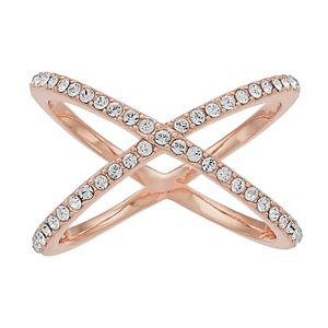 Brilliance 14k Rose Gold Plated X Ring with Swarovski Crystals