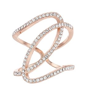 Brilliance Rose Gold Tone Crystal Abstract Swirl Ring with Swarovski Crystals