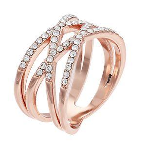 Brilliance Rose Gold Tone Swarovski Crystal Double X-Ring