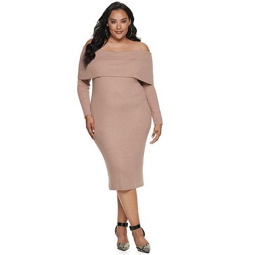 Plus Size Apt. 9® + Cara Santana Off-the-Shoulder Sweater Dress