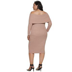 Plus Size Apt. 9 + Cara Santana Off-the-Shoulder Sweater Dress