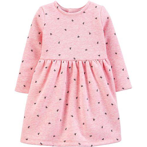 Baby Girl Carter's Bow Printed Fleece Holiday Dress