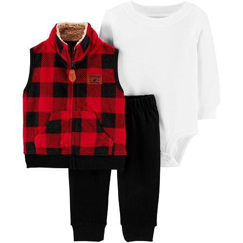 Baby Boy Carter's 3-Piece Buffalo Check Little Vest Set