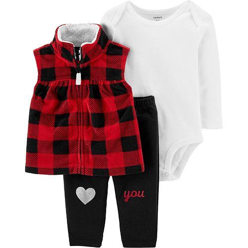 Baby Girl Carter's 3-Piece Buffalo Check Little Vest Set
