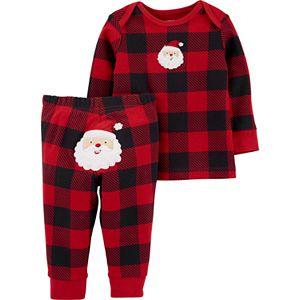 Baby Carter's 2-Piece Buffalo Check Top & Santa Pant Set