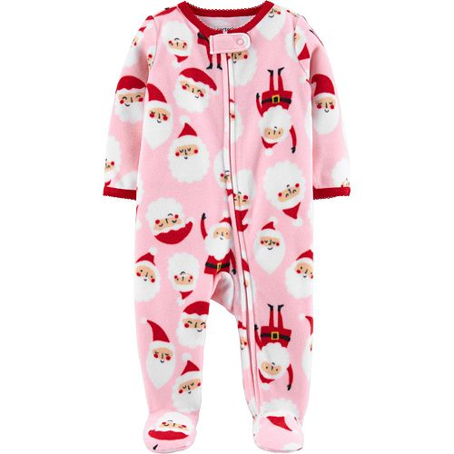 Baby Girl Carter's Santa Zip-Up Fleece Sleep & Play