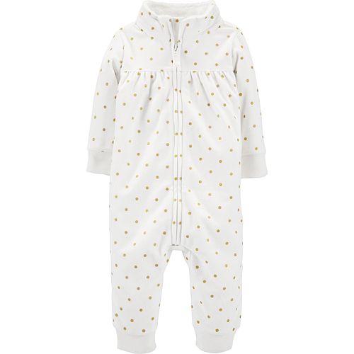 Baby Girl Carter's Zip-Up Polka Dot Fleece Jumpsuit