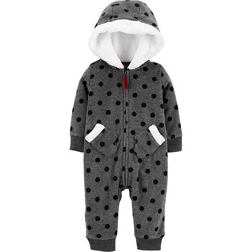 Baby Girl Carter's Hooded Polka Dot Fleece Jumpsuit