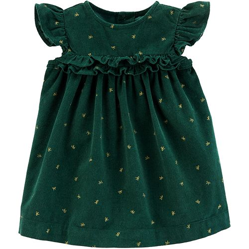 Baby Girl Carter's Bow Print Corduroy Holiday Dress