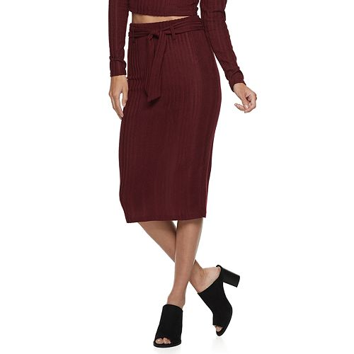 Juniors' Lily Rose Belted Sweater Midi Skirt