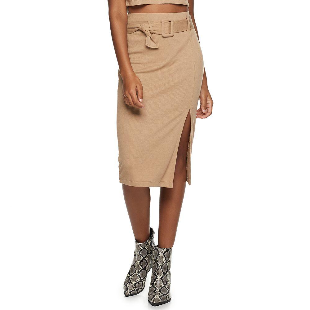 Juniors' Lily Rose Belted Rib Midi Skirt