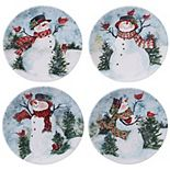 Certified International Watercolor Snowman 4-pc. Dinner Plate Set