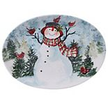 Certified International Watercolor Snowman Oval Platter