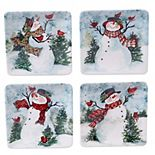 Certified International Watercolor Snowman 4-pc. Square Canape Plate Set