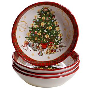 Certified International Vintage Santa 4-pc. Soup or Pasta Bowl Set