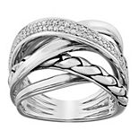 Sterling Silver 1/6 Carat T.W. Diamond Crossover Ring