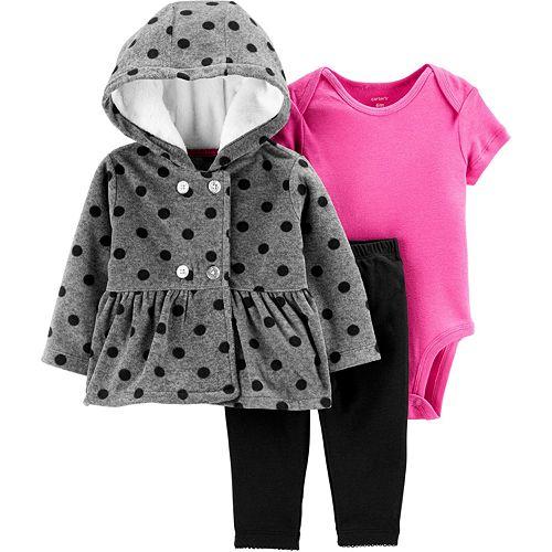 Baby Girl Carter's 3-Piece Polka Dot Little Cardigan Set