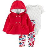 Baby Girl Carter's 3-Piece Fleece Little Cardigan Set