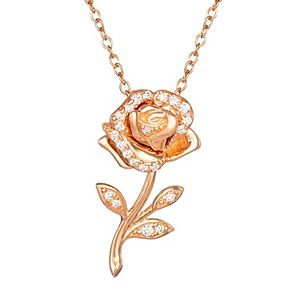 Disney Princess Sterling Silver Cubic Zirconia Rose Pendant Necklace