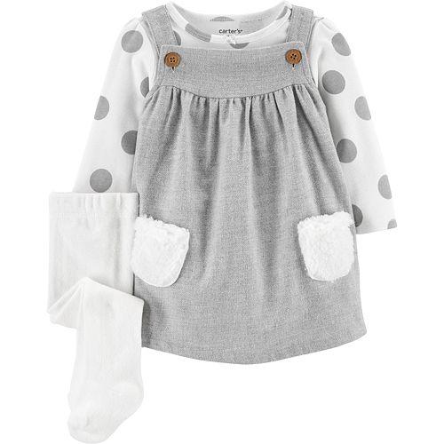 Baby Girl Carter's 3-Piece Polka Dot Bodysuit & Jumper Set