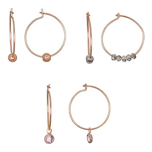 LC Lauren Conrad Rose Gold Tone Nickel Free Hoop Earring Set