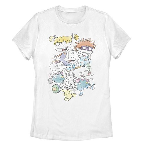 Juniors Rugrats Watercolor Group Shot Tee