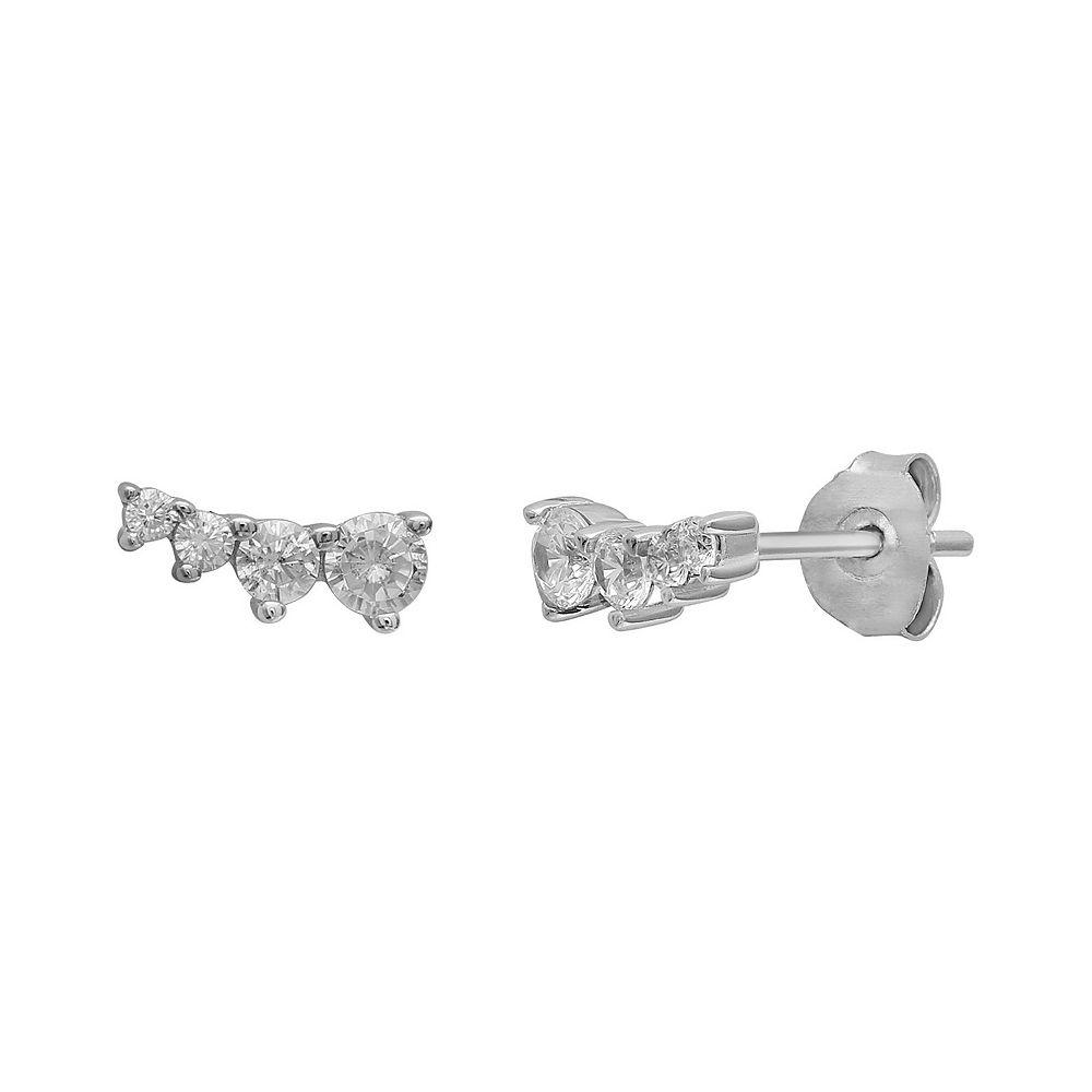 Women's PRIMROSE Sterling Silver Cubic Zirconia Graduated Curved Stud Earrings