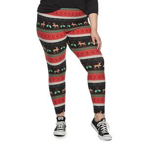 Juniors' Plus Size Mid-Rise Kitschy Leggings