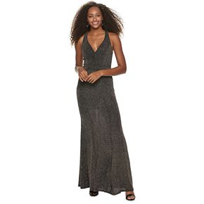 Juniors' Speechless Fitted Maxi Dress With Halter Neck
